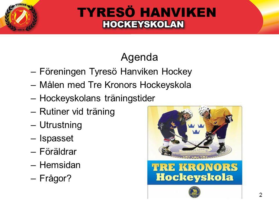 2 Agenda –Föreningen Tyresö Hanviken Hockey –Målen med Tre Kronors Hockeyskola –Hockeyskolans träningstider –Rutiner vid träning –Utrustning –Ispasset