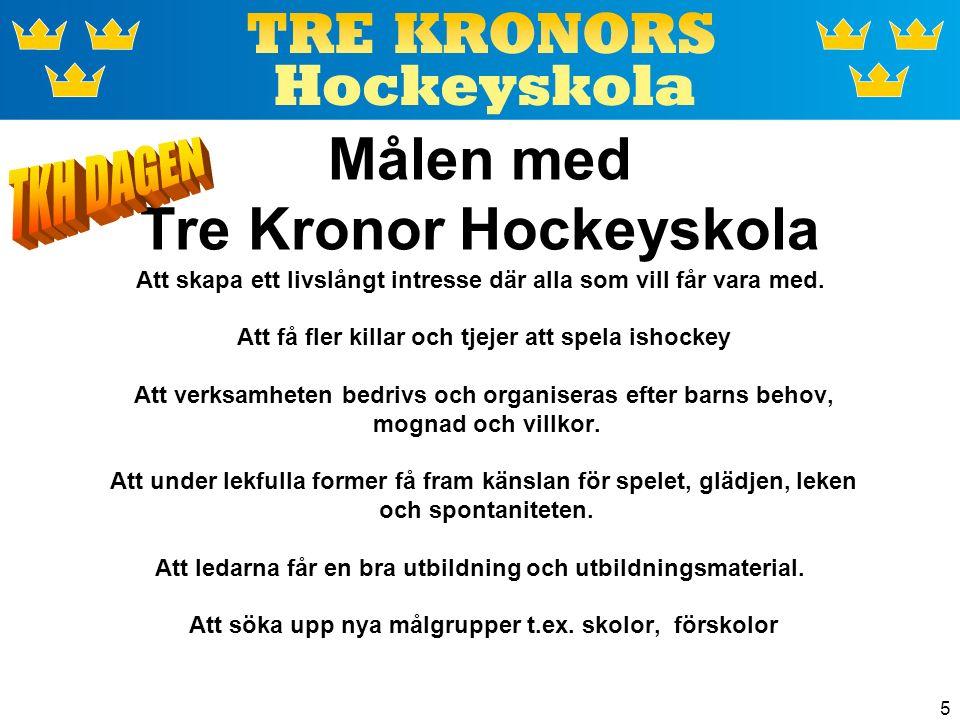 5 Målen med Tre Kronor Hockeyskola Att skapa ett livslångt intresse där alla som vill får vara med. Att få fler killar och tjejer att spela ishockey A