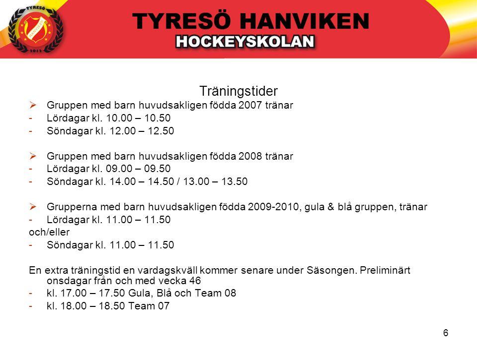 6 Träningstider  Gruppen med barn huvudsakligen födda 2007 tränar -Lördagar kl. 10.00 – 10.50 -Söndagar kl. 12.00 – 12.50  Gruppen med barn huvudsak