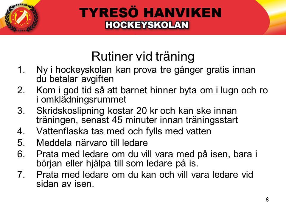 8 Rutiner vid träning 1.Ny i hockeyskolan kan prova tre gånger gratis innan du betalar avgiften 2.Kom i god tid så att barnet hinner byta om i lugn oc