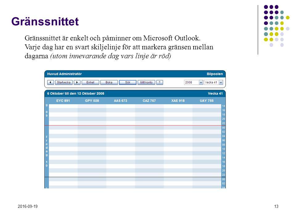 2016-09-1913 Gränssnittet Gränssnittet är enkelt och påminner om Microsoft Outlook. Varje dag har en svart skiljelinje för att markera gränsen mellan