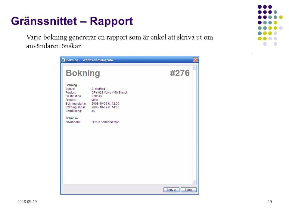 2016-09-1919 Gränssnittet – Rapport Varje bokning genererar en rapport som är enkel att skriva ut om användaren önskar.