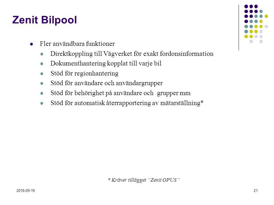 2016-09-1921 Zenit Bilpool Fler användbara funktioner Direktkoppling till Vägverket för exakt fordonsinformation Dokumenthantering kopplat till varje