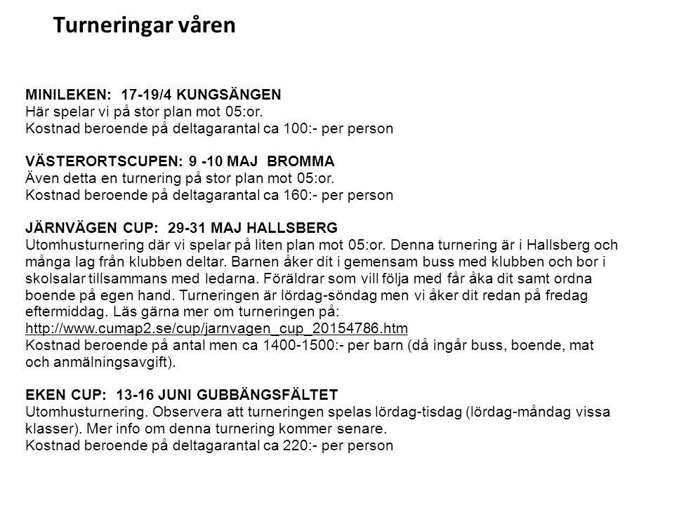 Turneringar våren MINILEKEN: 17-19/4 KUNGSÄNGEN Här spelar vi på stor plan mot 05:or. Kostnad beroende på deltagarantal ca 100:- per person VÄSTERORTS
