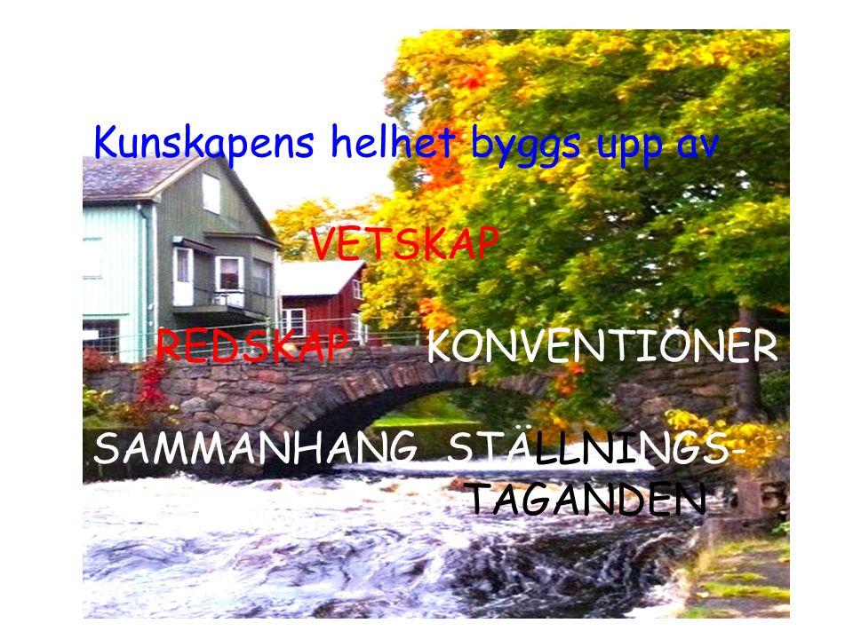 Kunskapens helhet byggs upp av VETSKAP REDSKAP KONVENTIONER SAMMANHANG STÄLLNINGS- TAGANDEN