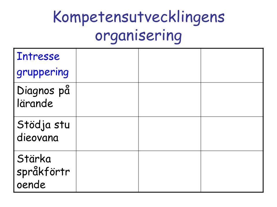 Kompetensutvecklingens organisering Intresse gruppering Diagnos på lärande Stödja stu dieovana Stärka språkförtr oende