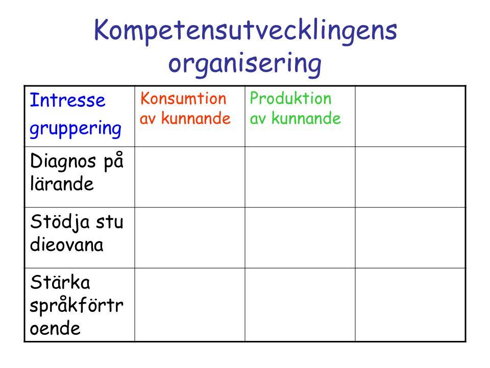 Kompetensutvecklingens organisering Intresse gruppering Konsumtion av kunnande Produktion av kunnande Diagnos på lärande Stödja stu dieovana Stärka sp