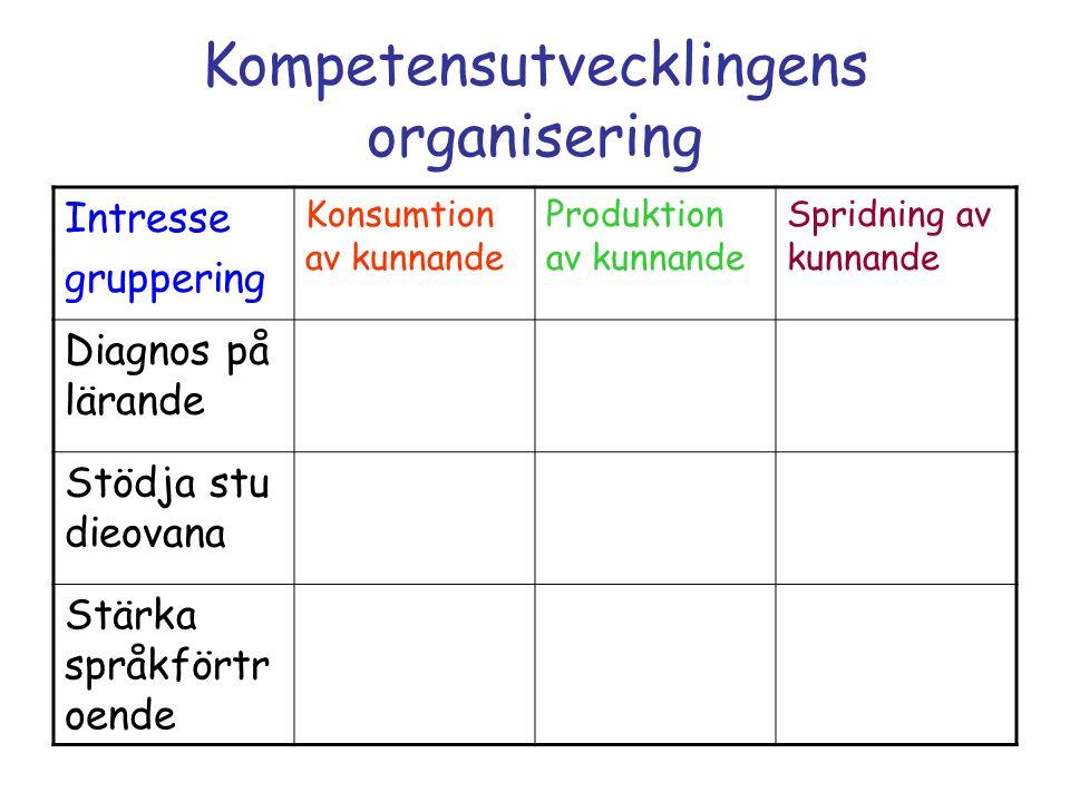 Kompetensutvecklingens organisering Intresse gruppering Konsumtion av kunnande Produktion av kunnande Spridning av kunnande Diagnos på lärande Stödja