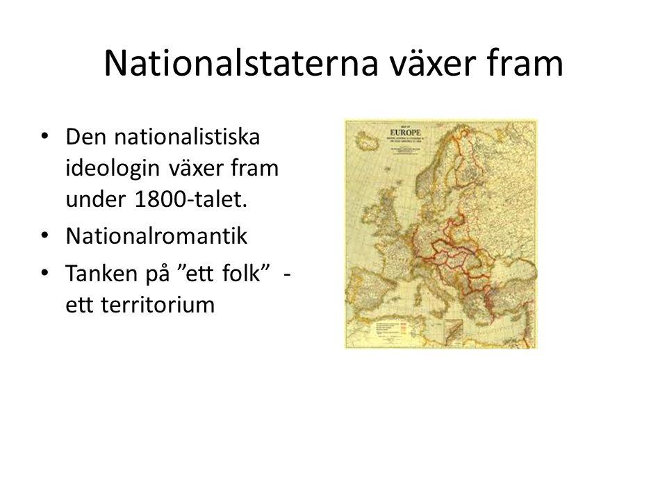 """Nationalstaterna växer fram Den nationalistiska ideologin växer fram under 1800-talet. Nationalromantik Tanken på """"ett folk"""" - ett territorium"""