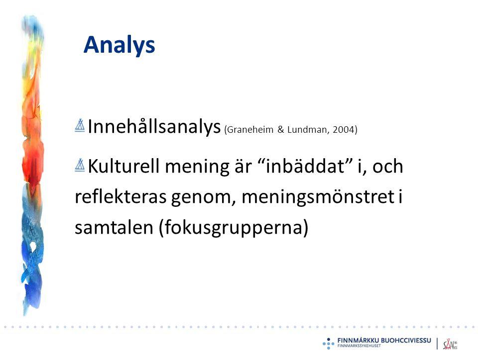 Analys Innehållsanalys (Graneheim & Lundman, 2004) Kulturell mening är inbäddat i, och reflekteras genom, meningsmönstret i samtalen (fokusgrupperna)