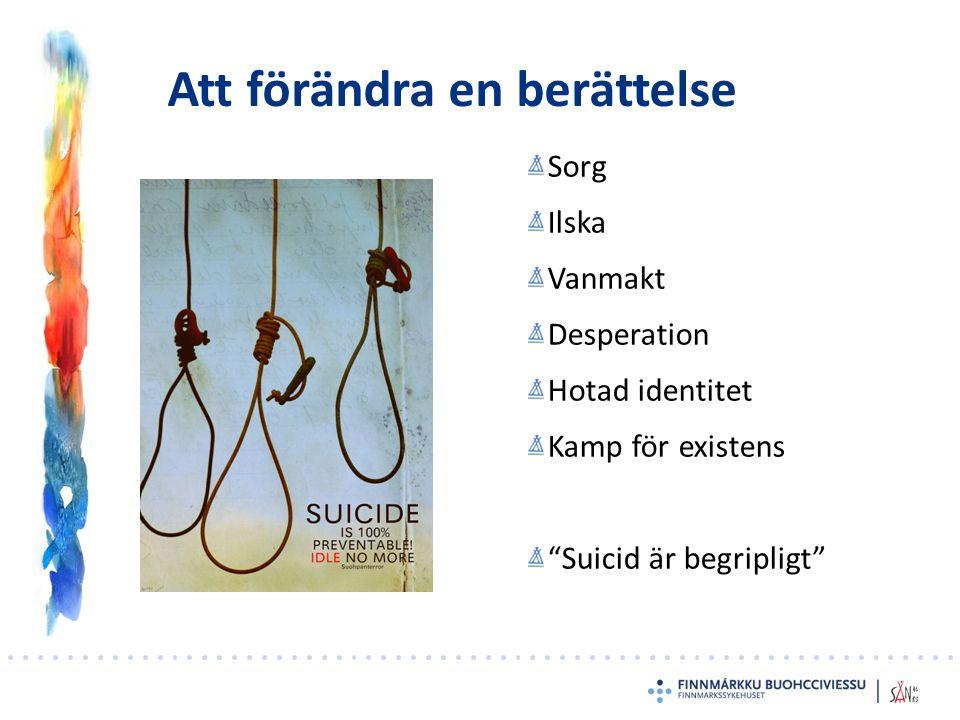 """Att förändra en berättelse Sorg Ilska Vanmakt Desperation Hotad identitet Kamp för existens """"Suicid är begripligt"""""""