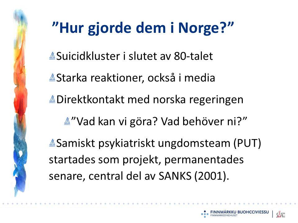 Hur gjorde dem i Norge Suicidkluster i slutet av 80-talet Starka reaktioner, också i media Direktkontakt med norska regeringen Vad kan vi göra.