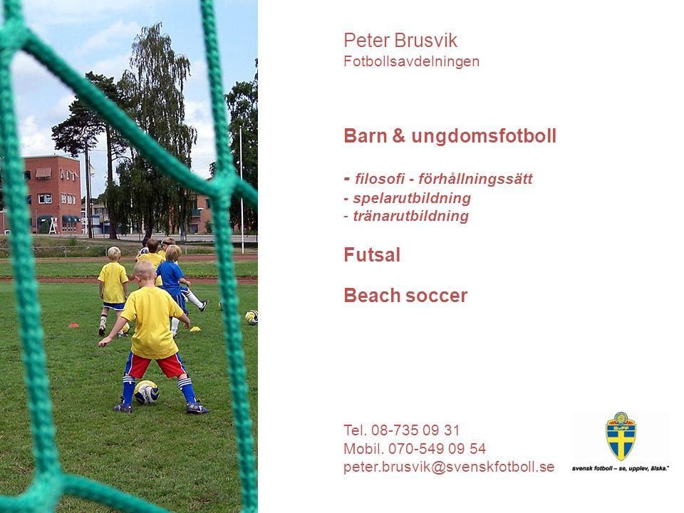dispositon UEFA Grassroots Programme Fotbollens spela, lek och lär Förhållningssätt (tävla, dubbla budskap, lärande) Spelarutbildning (mål, principer) Utveckling av tränarutbildningen Peter Brusvik