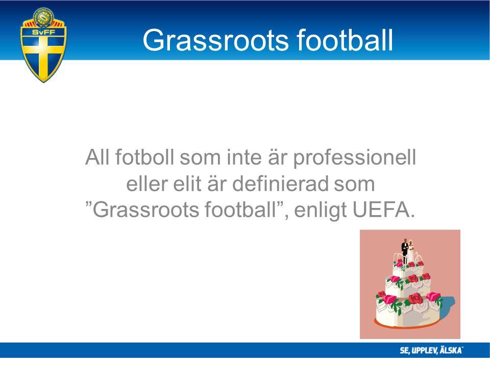 """Grassroots football All fotboll som inte är professionell eller elit är definierad som """"Grassroots football"""", enligt UEFA."""