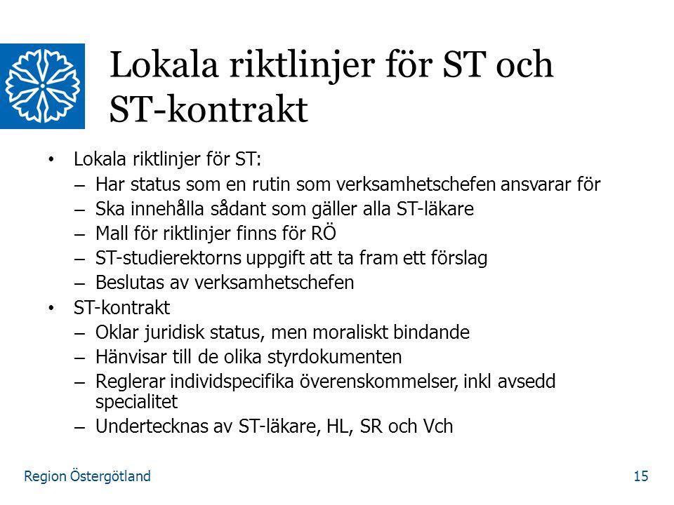 Region Östergötland Lokala riktlinjer för ST: – Har status som en rutin som verksamhetschefen ansvarar för – Ska innehålla sådant som gäller alla ST-l