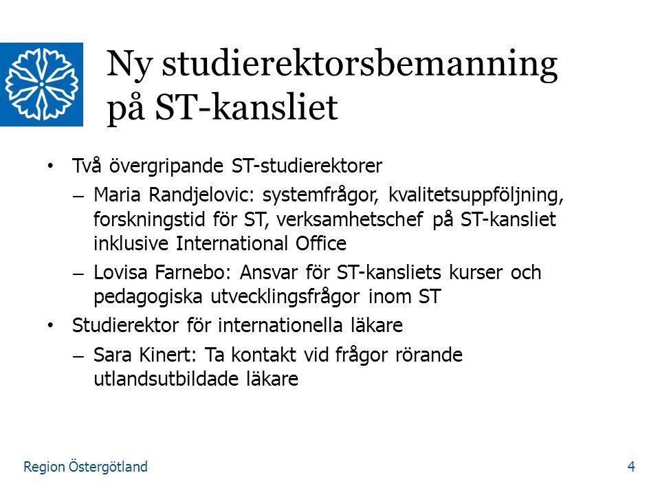 Region Östergötland Två övergripande ST-studierektorer – Maria Randjelovic: systemfrågor, kvalitetsuppföljning, forskningstid för ST, verksamhetschef