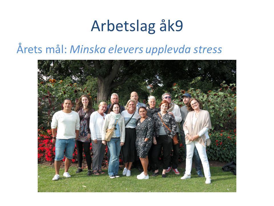 Arbetslag åk9 Årets mål: Minska elevers upplevda stress