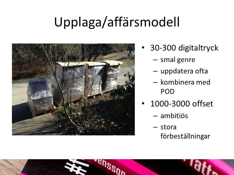 Upplaga/affärsmodell 30-300 digitaltryck – smal genre – uppdatera ofta – kombinera med POD 1000-3000 offset – ambitiös – stora förbeställningar
