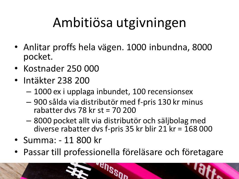 Ambitiösa utgivningen Anlitar proffs hela vägen. 1000 inbundna, 8000 pocket.