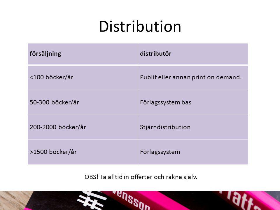 Distribution försäljningdistributör <100 böcker/årPublit eller annan print on demand.