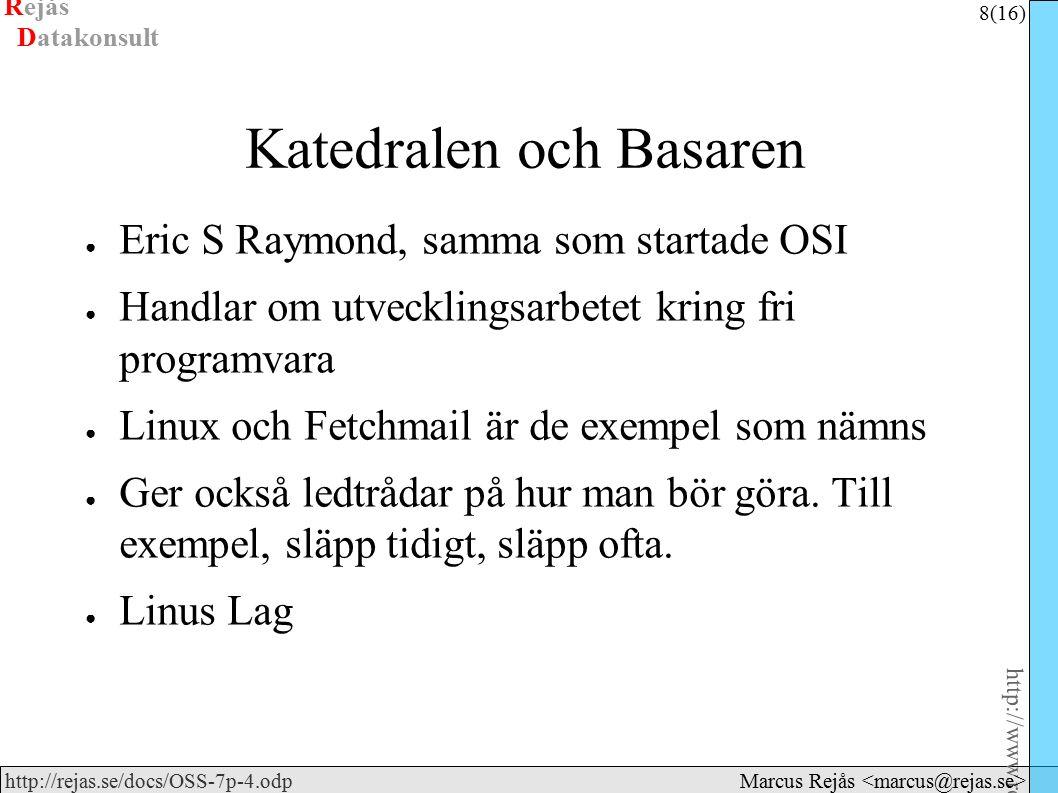 Rejås 19 (16) http://www.rejas.se – Fri programvara är enkelt http://rejas.se/docs/OSS-7p-4.odp Datakonsult Marcus Rejås Diskussion ● Valfritt ämne.