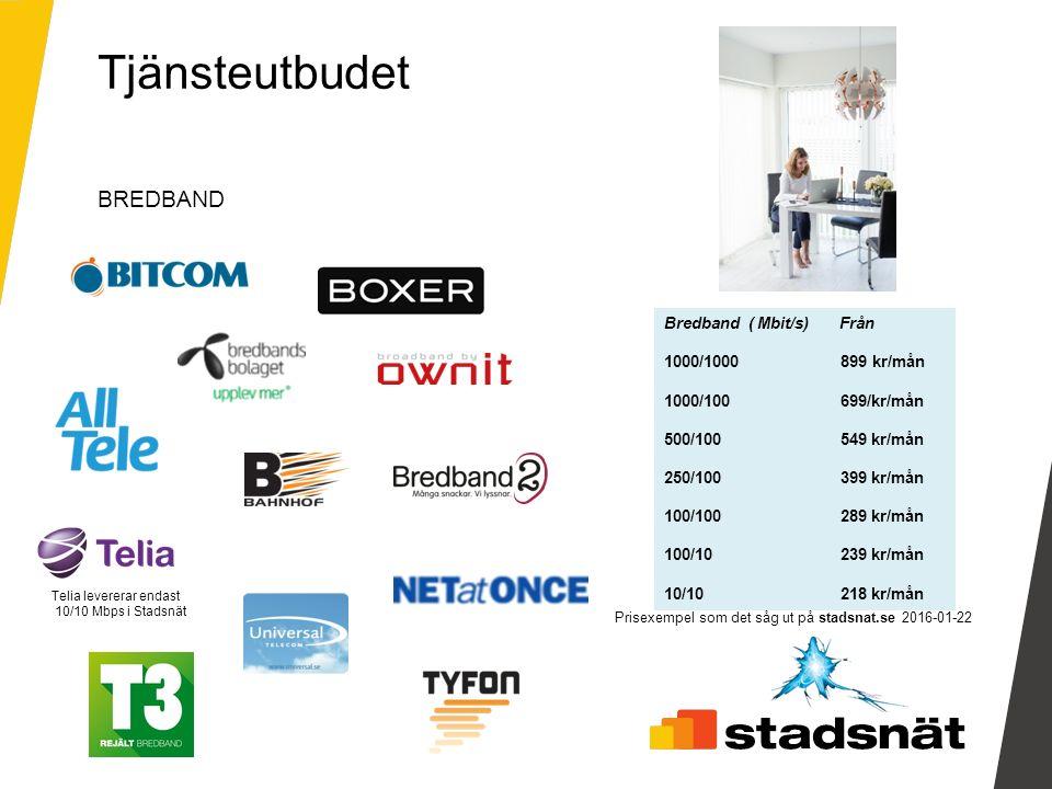 Prisexempel som det såg ut på stadsnat.se 2016-01-22 BREDBAND Tjänsteutbudet Telia levererar endast 10/10 Mbps i Stadsnät Bredband ( Mbit/s) Från 1000