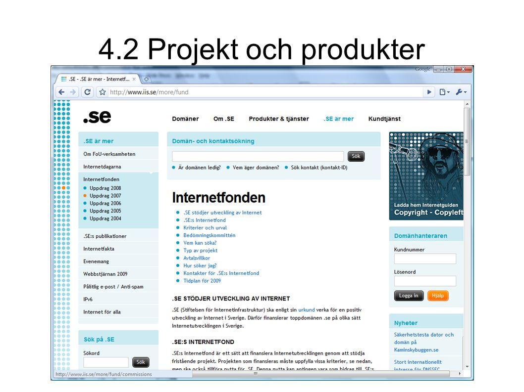 4.2 Projekt och produkter