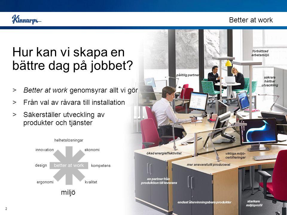 2 Hur kan vi skapa en bättre dag på jobbet? Better at work >Better at work genomsyrar allt vi gör >Från val av råvara till installation >Säkerställer