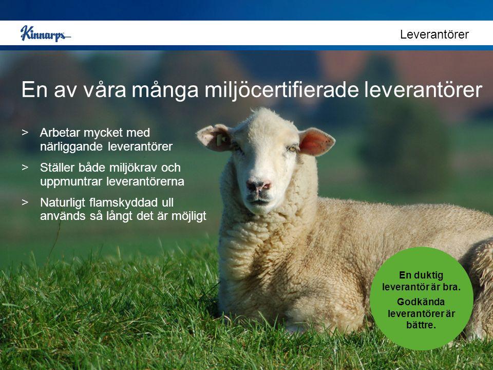En av våra många miljöcertifierade leverantörer Leverantörer En duktig leverantör är bra. Godkända leverantörer är bättre. >Arbetar mycket med närligg