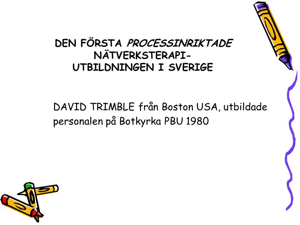DEN FÖRSTA PROCESSINRIKTADE NÄTVERKSTERAPI- UTBILDNINGEN I SVERIGE DAVID TRIMBLE från Boston USA, utbildade personalen på Botkyrka PBU 1980
