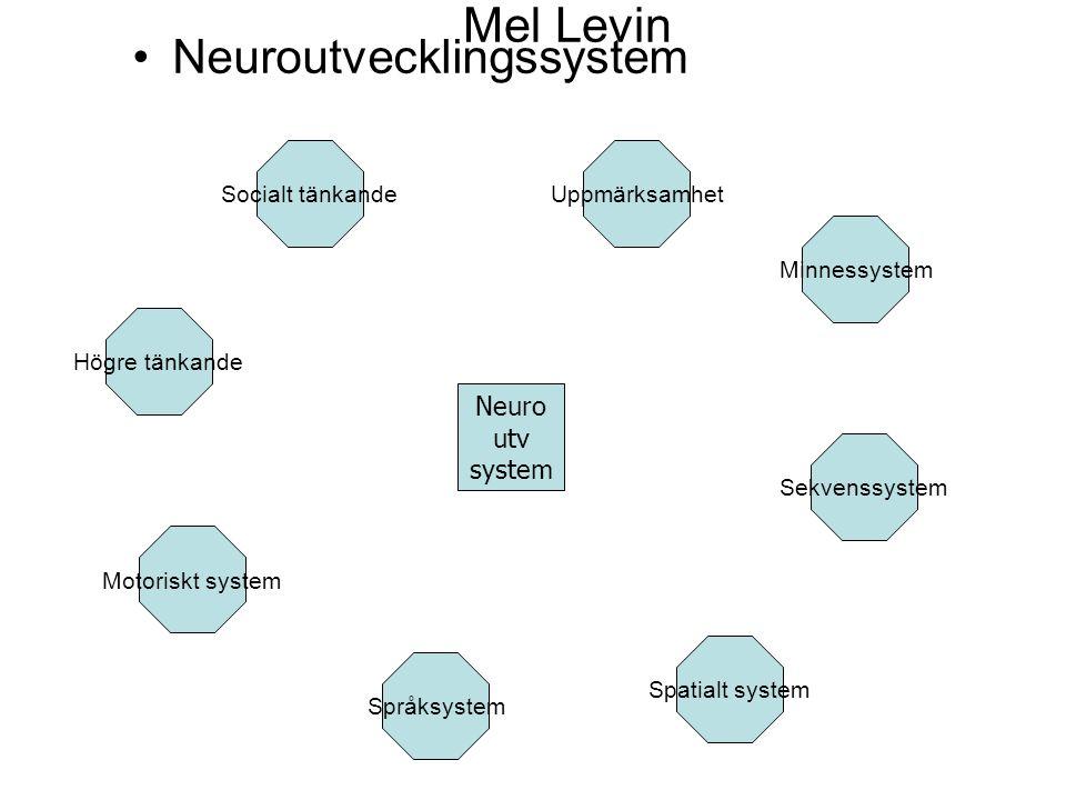 Mel Levin Neuroutvecklingssystem Neuro utv system Motoriskt system Språksystem Spatialt system Sekvenssystem Minnessystem UppmärksamhetSocialt tänkande Högre tänkande