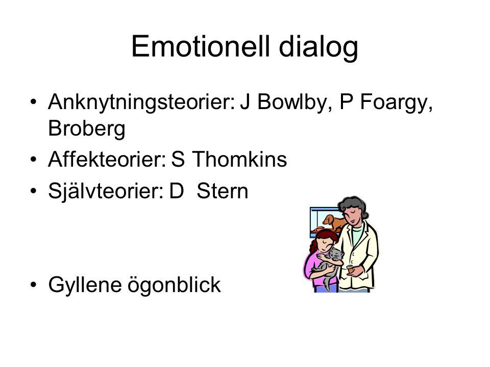 Anknytningsteorier: J Bowlby, P Foargy, Broberg Affekteorier: S Thomkins Självteorier: D Stern Gyllene ögonblick