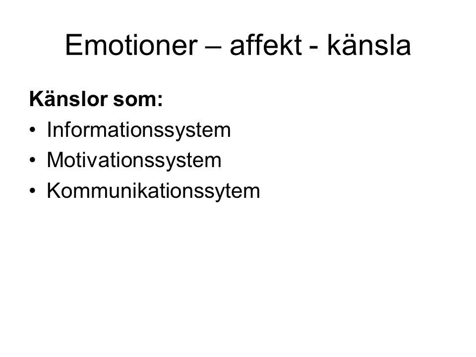 Emotioner – affekt - känsla Känslor som: Informationssystem Motivationssystem Kommunikationssytem