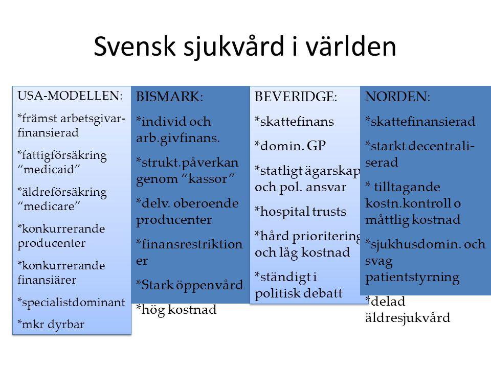 Sverige vs andra länder Förmedling av hälso- och sjukvård - enligt Hälso- och sjukvårdslagen (1982) Finansiering - största delen skattefinansierad Resurser - bra personalresurser (läkare, sjuksköterskor), hög teknologi Stat vs landsting - decentraliserat till landstingen