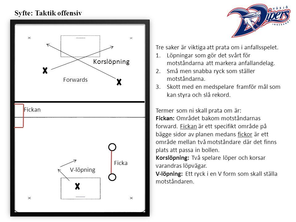 Syfte: Taktik offensiv Tre saker är viktiga att prata om i anfallsspelet.