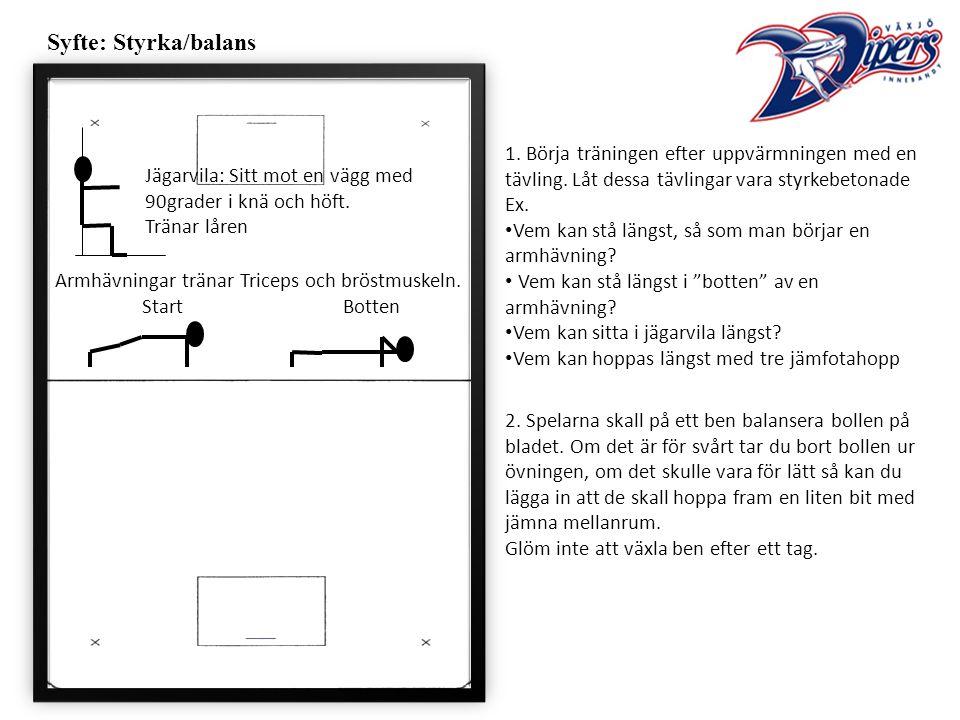 Syfte: Styrka/balans 1. Börja träningen efter uppvärmningen med en tävling.