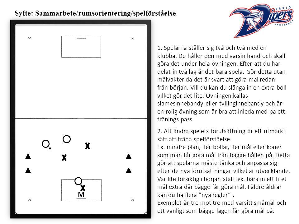 Syfte: Sammarbete/rumsorientering/spelförståelse 1.