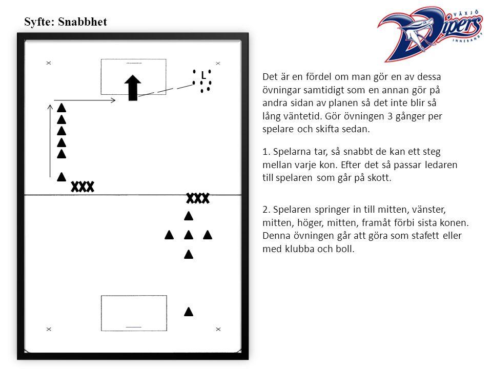 Syfte: Snabbhet 1. Spelarna tar, så snabbt de kan ett steg mellan varje kon.