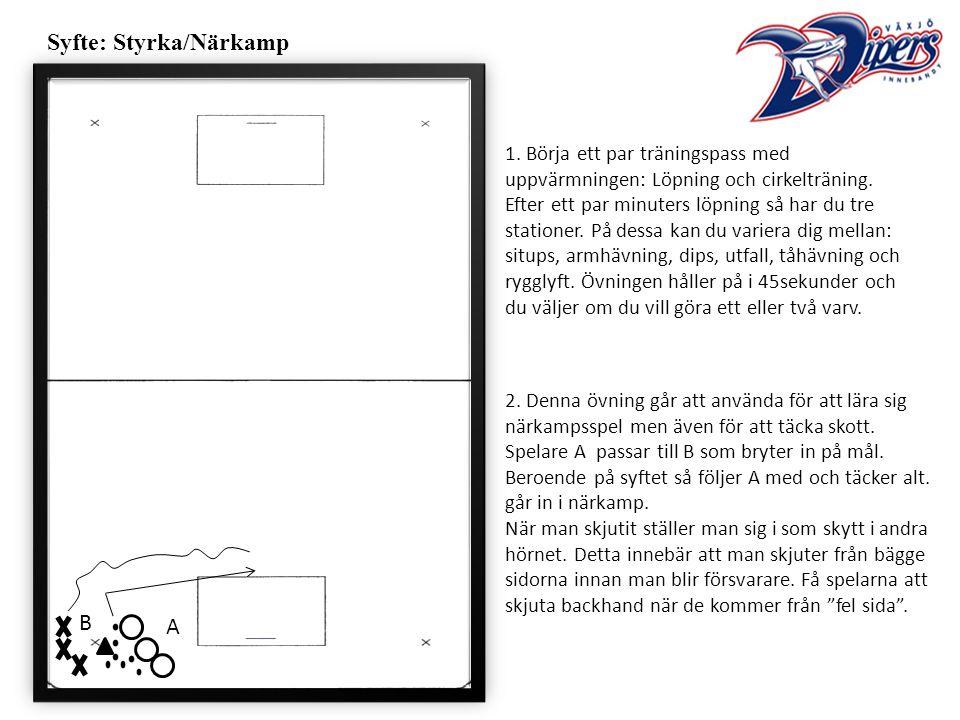 Syfte: Styrka/Närkamp 1. Börja ett par träningspass med uppvärmningen: Löpning och cirkelträning.