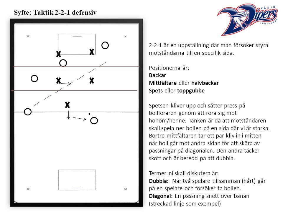 Syfte: Taktik 2-2-1 defensiv 2-2-1 är en uppställning där man försöker styra motståndarna till en specifik sida.