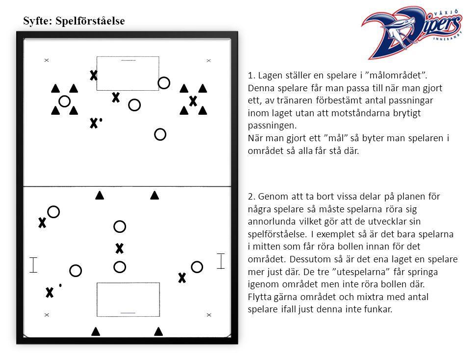 Syfte: Spelförståelse 1. Lagen ställer en spelare i målområdet .
