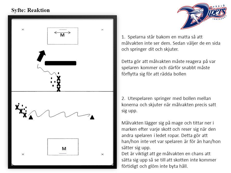Syfte: Reaktion 1. Spelarna står bakom en matta så att målvakten inte ser dem.