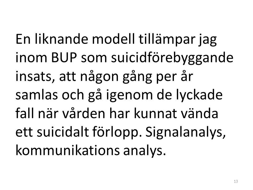 En liknande modell tillämpar jag inom BUP som suicidförebyggande insats, att någon gång per år samlas och gå igenom de lyckade fall när vården har kun