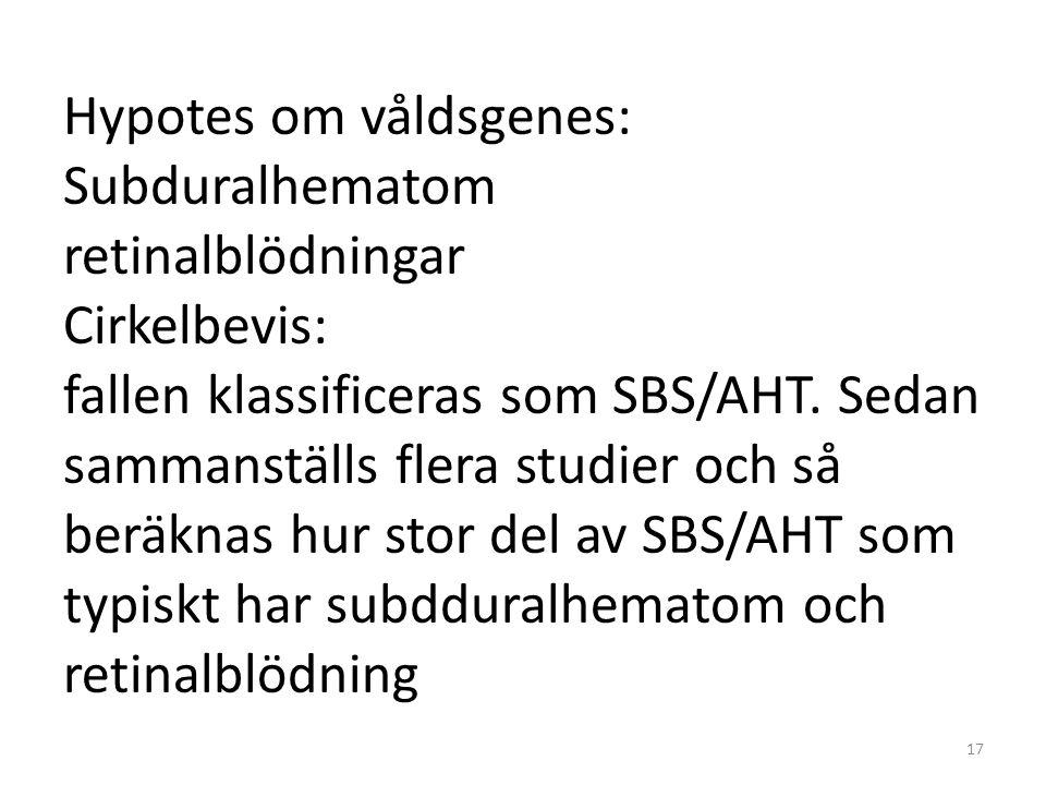 Hypotes om våldsgenes: Subduralhematom retinalblödningar Cirkelbevis: fallen klassificeras som SBS/AHT. Sedan sammanställs flera studier och så beräkn