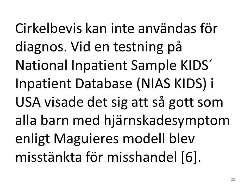 Cirkelbevis kan inte användas för diagnos. Vid en testning på National Inpatient Sample KIDS´ Inpatient Database (NIAS KIDS) i USA visade det sig att