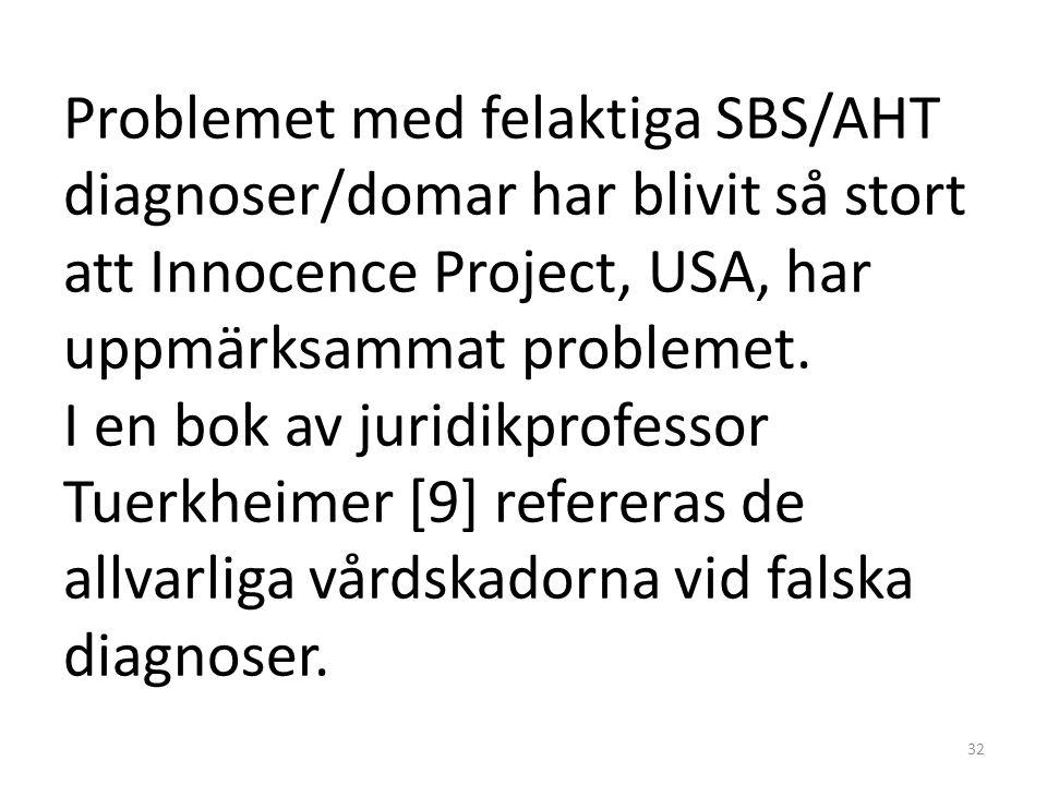 Problemet med felaktiga SBS/AHT diagnoser/domar har blivit så stort att Innocence Project, USA, har uppmärksammat problemet. I en bok av juridikprofes