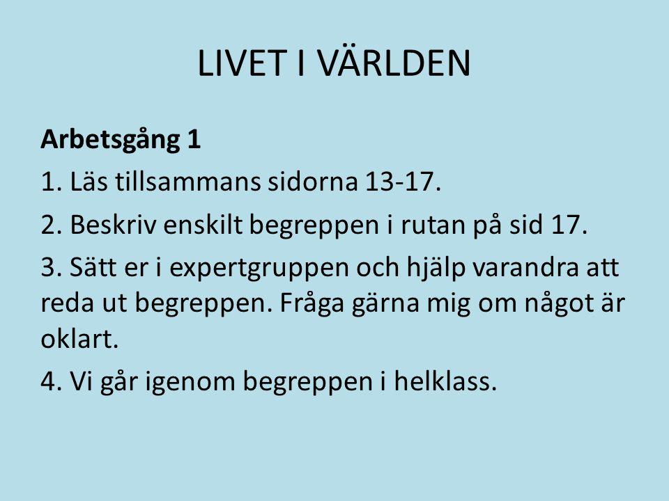 LIVET I VÄRLDEN Arbetsgång 1 1. Läs tillsammans sidorna 13-17.