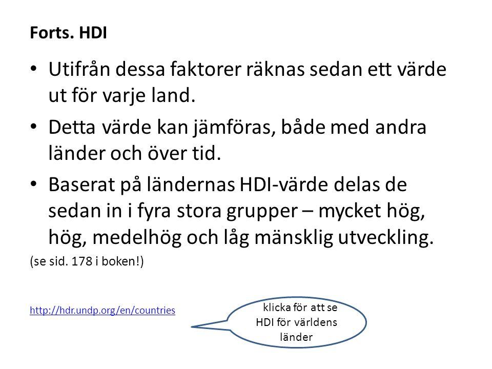 Forts. HDI Utifrån dessa faktorer räknas sedan ett värde ut för varje land. Detta värde kan jämföras, både med andra länder och över tid. Baserat på l