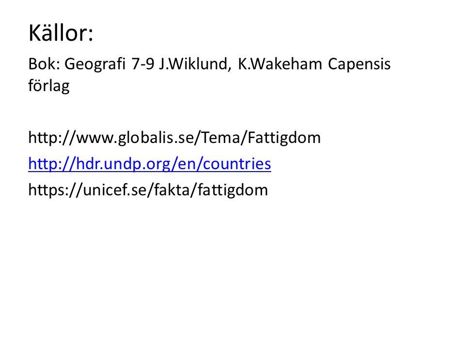 Källor: Bok: Geografi 7-9 J.Wiklund, K.Wakeham Capensis förlag http://www.globalis.se/Tema/Fattigdom http://hdr.undp.org/en/countries https://unicef.se/fakta/fattigdom