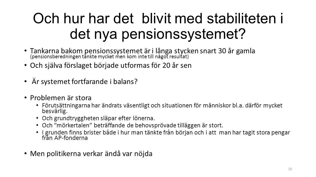 Och hur har det blivit med stabiliteten i det nya pensionssystemet.